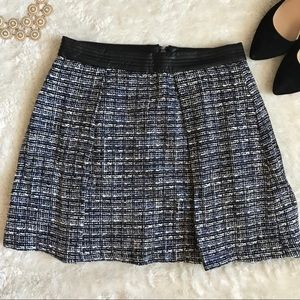 Twill mini skirt with faux leather
